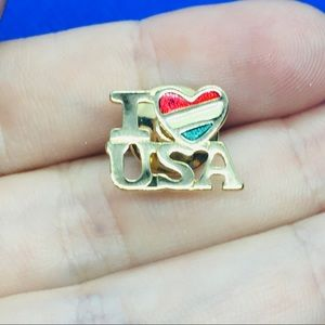 Avon vintage gold pin I love USA Mexican flag